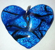 Click for a larger photo of the Clear Glass on Blue & Black Heart Shaped Necklace