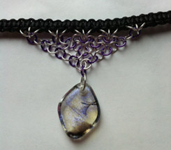 Click for a larger photo of the Clear Violet with Black Stringer Diamond Shaped Chain Maille Choker