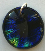Click for a larger photo of the Clear Glass on Blue, Gold & Black Round Shaped Necklace