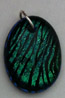 Click for a larger photo of the Clear Glass on Greenish Blue Zebra Patterned Glass Oval Shaped Necklace