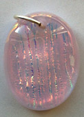 Clear Glass on Pink Rib Patterned Oval Shaped Necklace