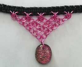 Click for a larger photo of the Clear Glass on Pink Sparkle Oval Shaped Chain Maille Choker