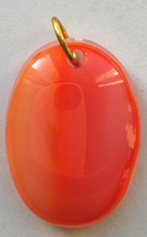 Click for a larger photo of the Coral Glass Oval Shaped Necklace