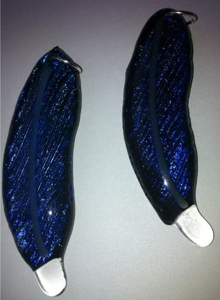 Cobalt Blue Dichroic Glass Feather Necklace