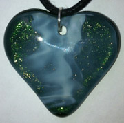 Click for a larger photo of the Vanilla Swirl on Iridescent Green Heart Shaped Necklace