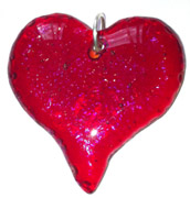 Click for a larger photo of the Clear Glass on Iridescent Red Fancier Heart Shaped Necklace