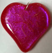 Clear Pink on Red Glass Fancier Heart Shaped Necklace