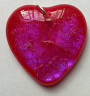 Click for a larger photo of the Clear Pink on Red Glass Heart Shaped Necklace