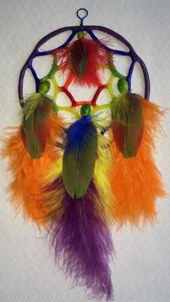 Click for a larger photo of the Purple Rainbow Glass and Multicolored Feathers Dream Catcher