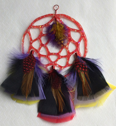 Click for a larger photo of the Red Glass with Dichroic Chips and Red, Purple and Black Feathers Dream Catcher