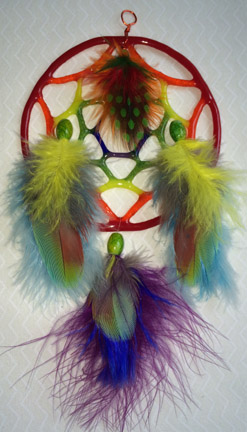 Click for a larger photo of the Red Rainbow Glass and Multicolored Feathers Dream Catcher