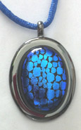Click for a larger photo of the Textured Blue Reptile Patterned Oval in Gunmetal-plated Setting