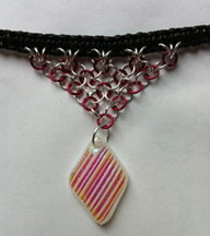 Click for a larger photo of the Textured Pink Rib Patterned Diamond Shaped Chain Maille Choker