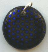 Click for a larger photo of the Textured Purplish Blue Polka Dot Patterned Round Shaped Necklace
