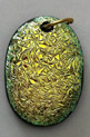 Click for a larger photo of the Textured Yellow Krinkle Glass Oval Shaped Necklace