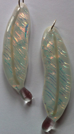 Clear Opal Dichroic Glass on White Glass Feather Necklace