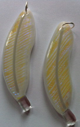 Clear Glass with Yellow/Violet/Blue Dichroic Glass on White Glass Feather Necklace