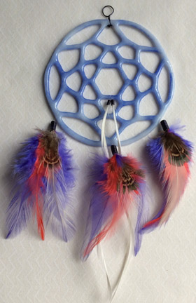 Click for a larger photo of the White with Blue Glass and Blue and Salmon Feathers Dream Catcher